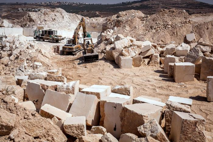 Palestinian-owned quarry operating without a license in Area C of the West Bank. Israel's Civil Administration has not issued a single license to a Palestinian for a new quarry in Area C since 1994, according to the Palestinian Union of Stone and Marble.