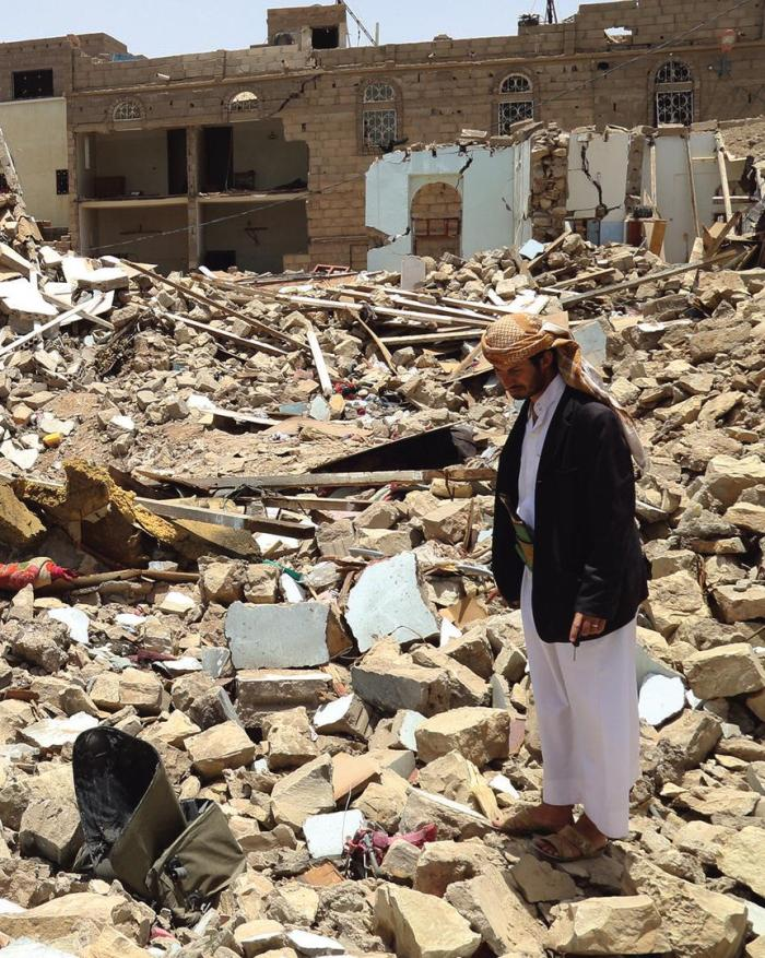 Rubble from a residential house in Saada City, Yemen. An airstrike almost completely destroyed the house on May 6, 2015, killing 27 members of one family. © 2015 Ole Solvang/Human Rights Watch