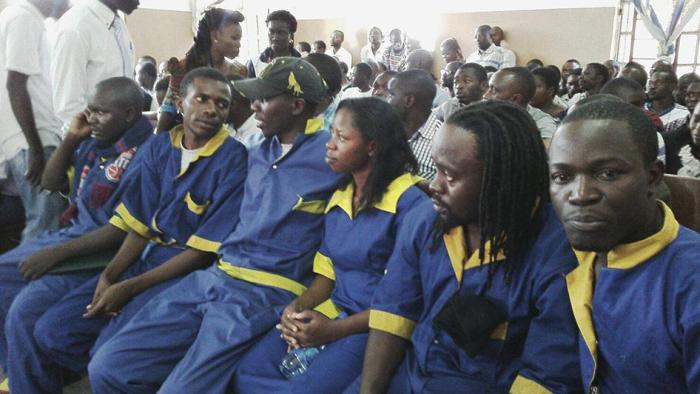 Six LUCHA activists on trial in Goma, eastern Democratic Republic of Congo on February 22, 2016, where they face trumped-up charges for supporting a February 16 national strike to protest election delays.