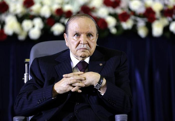 President Abdelaziz Bouteflika looks on during a swearing-in ceremony in Algiers on April 28, 2014.