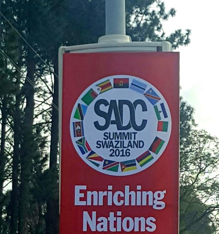 Billboard advertising the 2016 Southern African Development Community (SADC) Summit in Mbabane, Swaziland.