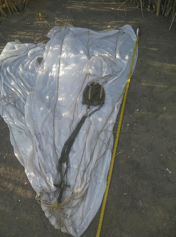 Parachute from a BLU-108 canister used in the CBU-105 Sensor Fuzed Weapon attack on al-Hayma Port in Hodaida governorate on December 12, 2015.