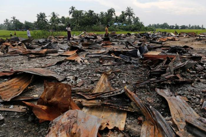 The ruins of a market which was set on fire are seen at a Rohingya village outside Maungdaw in Rakhine state, Burma on October 27, 2016.