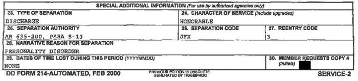 DD-214 (discharge papers) for a soldier with an honorable discharge for Personality Disorder. The form must be shown to prove veteran status.