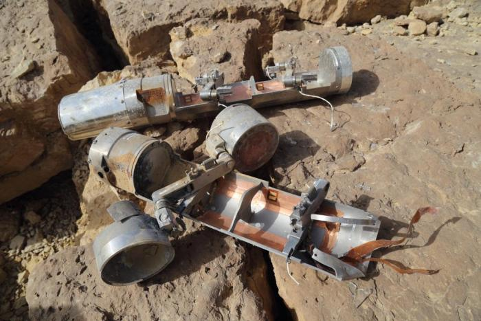 Two BLU-108 canisters, one with two skeet (submunitions) still attached, found in the al-Amar area of al-Safraa in Saada governorate, northern Yemen after an attack on April 27.