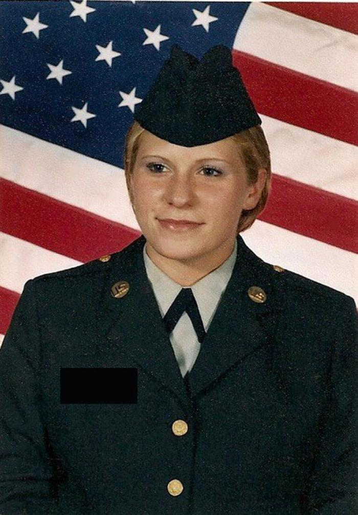 Eva Washington after finishing boot camp in 2000. She was raped repeatedly while in training for Army Intelligence and given a Personality Disorder discharge without having a medical diagnosis.
