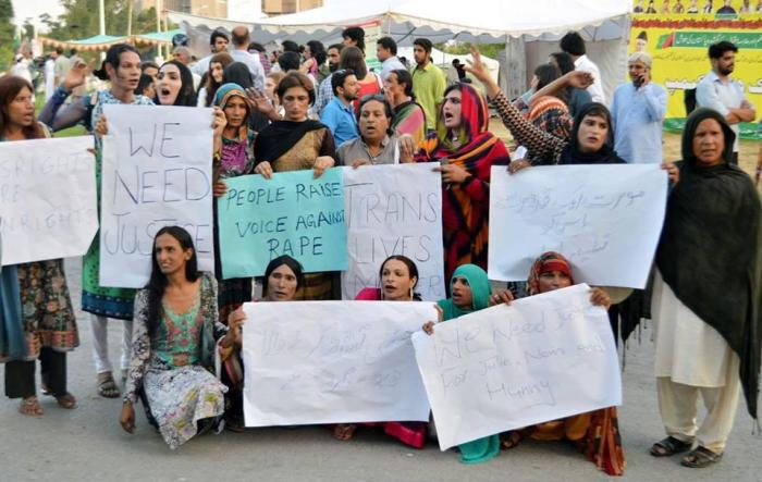 Transgender activists protest against the rape of two transgender women in Faisalabad.