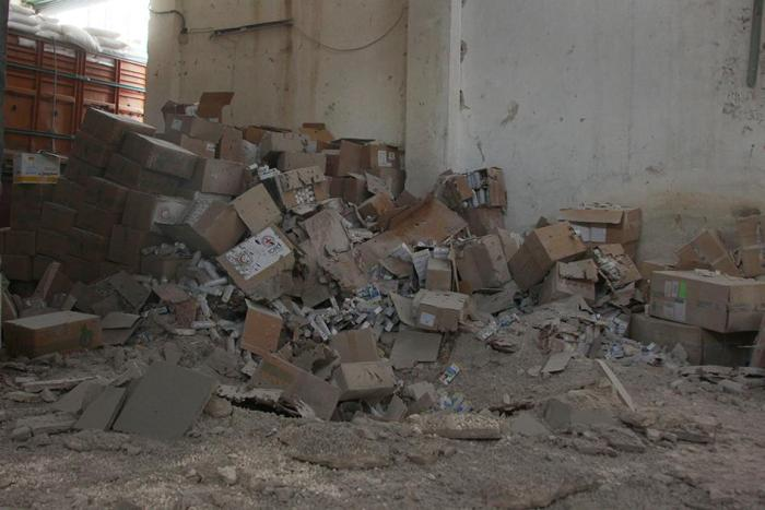 Damaged medical supplies after an airstrike on Urm al-Kubra town, western Aleppo city, Syria September 20, 2016
