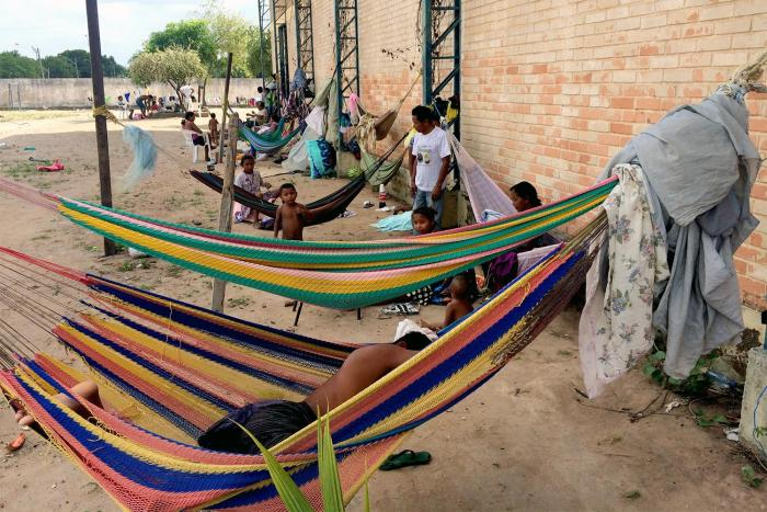 Hammocks where members of the Venezuelan Warao indigenous community sleep at a shelter in Boa Vista. Others sleep on the floor inside the shelter. February 11, 2017.
