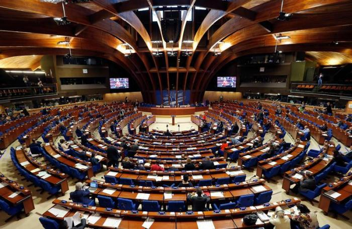 Members of the Parliamentary Assembly of the Council of Europe take part in a debate on the functioning of democratic institutions in Turkey, at the Council of Europe in Strasbourg, France, April 25, 2017.