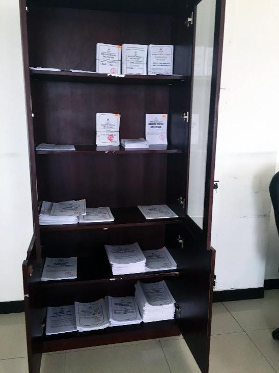 Equatorial Guinea has no comprehensive online legal database or library, but hard copies of many laws can be purchased at certain government offices. Above are law pamphlets available for sale at the Delegation for Foreign Affairs in Bata.