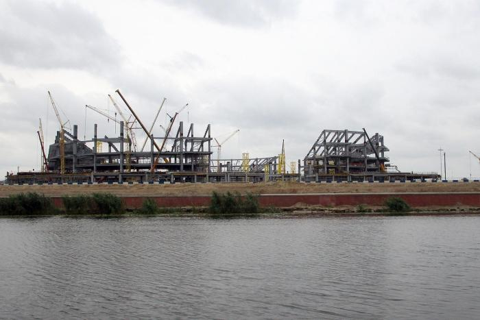 The Kaliningrad Stadium, a 2018 World Cup venue, in Kaliningrad, Russia, under construction in July 2016.