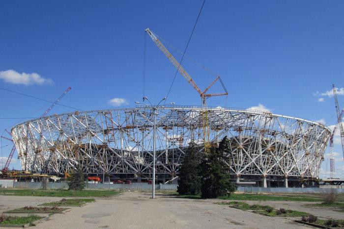 The Volgograd Arena, a 2018 World Cup venue in Volgograd, Russia, under construction in April 2017.
