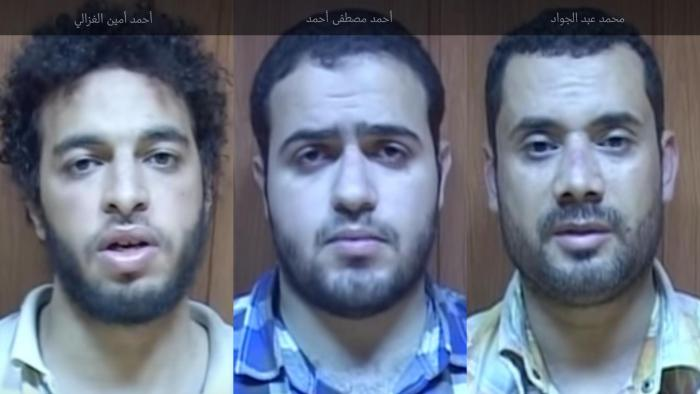 The men said they were held and tortured inside military intelligence headquarters in Cairo's Nasr City neighborhood, where they were forced to confess.