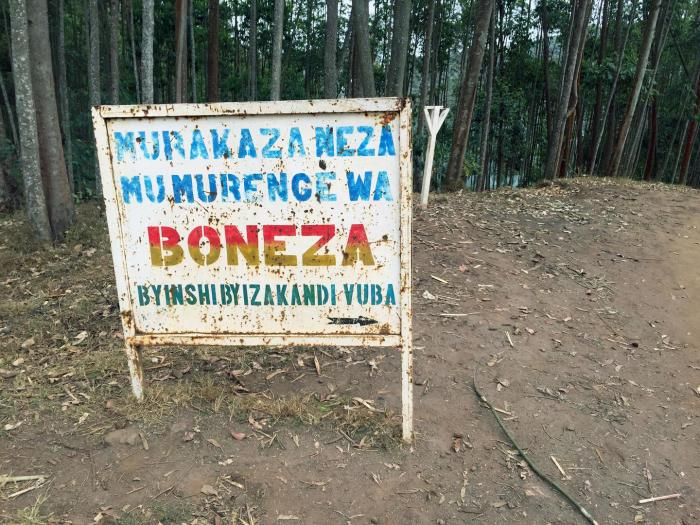 A sign welcoming visitors to Boneza, a sector in Rwanda's Rutsiro district.
