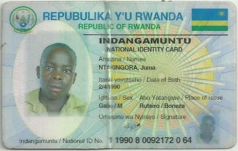 Identity card of Juma Ntakingora, 27, who was killed on September 21, 2016, while fishing near Bugarura village in Bushaka cell.