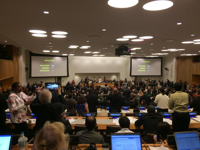 Countries voted to adopt the Treaty on the Prohibition of Nuclear Weapons at the United Nations in New York on July 7.