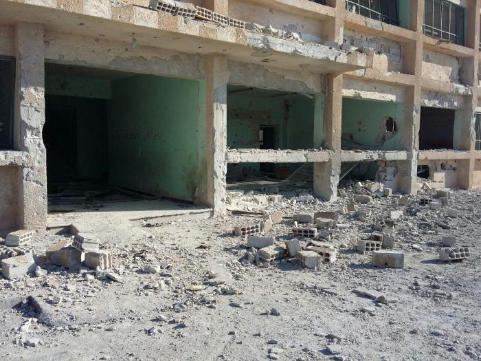 Damage to the Martyr Kiwan middle school from a Syrian-Russian airstrike on June 14, 2017 that killed eight civilians, including a child.