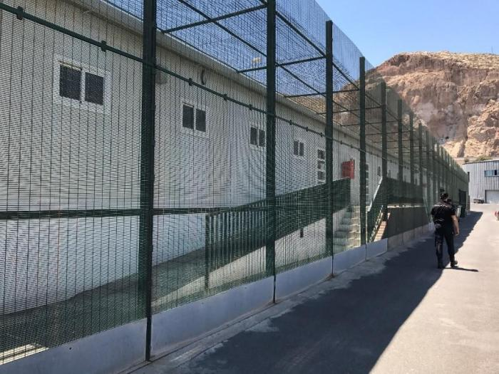 The police detention facility at Almería port where people are held for up to 72 hours following rescue at sea.