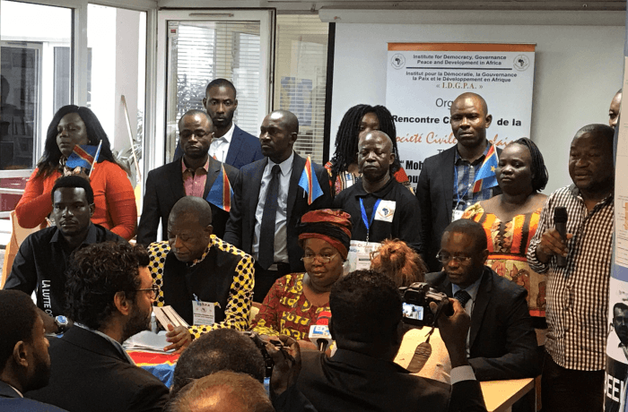 "Leaders of citizens' movements, civil society organizations, Catholic Church representatives, and other independent Congolese leaders launch the ""Manifesto of the Congolese Citizen,"" in Paris, August 18, 2017."