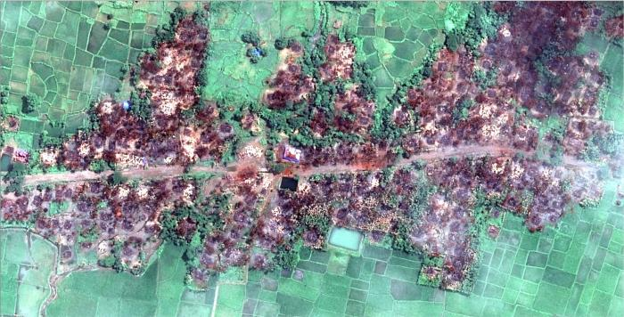 New satellite imagery obtained by Human Rights Watch shows the complete destruction of the village of Chein Khar Li