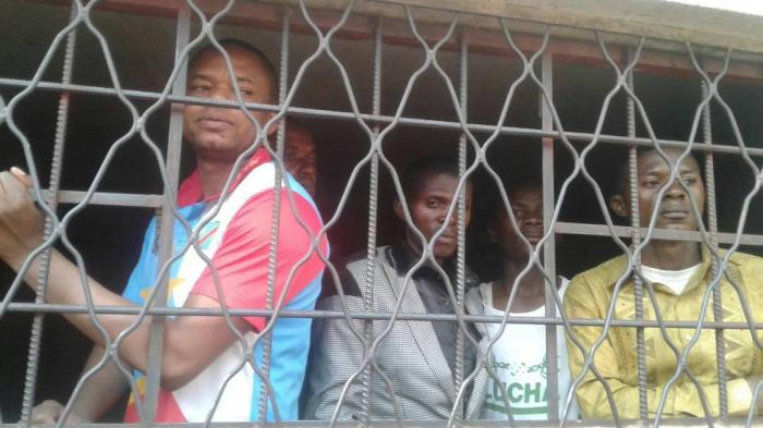 From left to right: Timothée Mbuya, Erick Omari, Patrick Mbuya, Jean Mulenda, and Jean Pierre Tshibitshabu. They were arrested in Lubumbashi on July 31, 2017.