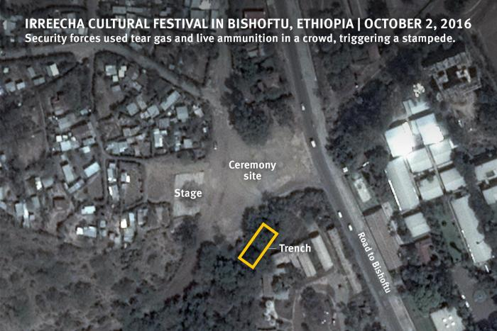 Satellite imagery showing the Ireecha cultural festival