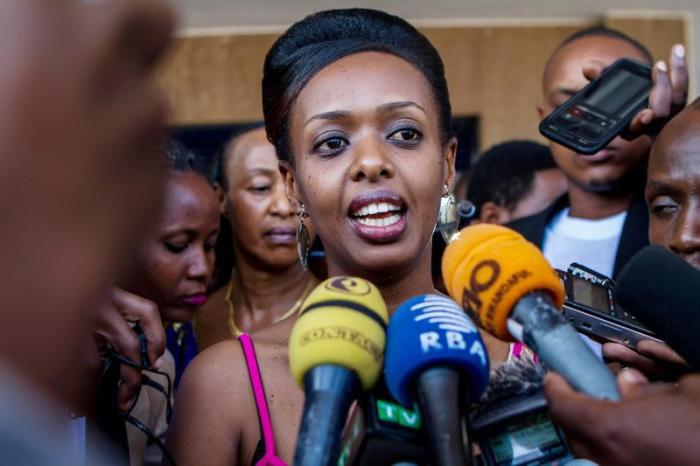 Would-be independent presidential candidate Diane Rwigara speaks to the media in Kigali, Rwanda, June 20, 2017.