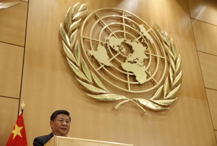 Chinese President Xi Jinping delivers a speech in the Palais des Nations at the United Nations in Geneva, January 18, 2017.