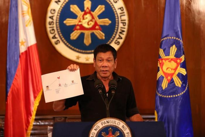 President Rodrigo Duterte gives a press conference on the ongoing drug war in the Philippines in July 2016. Photo by King Rodriguez, public domain, via Wikimedia Commons.