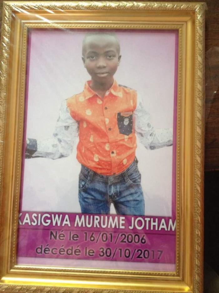 Security forces killed 11-year-old Jotham Kasigwa Murume during demonstrations in Goma on October 30, 2017.