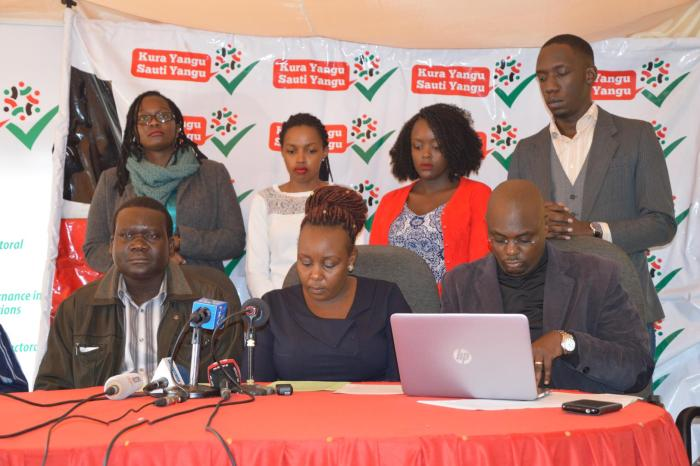 Members of Kura Yangu Sauti Yangu address the media after the NGO Board asked them to stop their operations On Monday November 6, 2017.