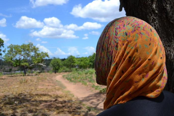"""Adila K.,"" 35, said she returned from Oman in January 2017 after spending a year working for a family who confiscated her passport, paid her less than promised, and forced her to work excessive hours without rest or a day off. Kiwangwa village, Tanzania."
