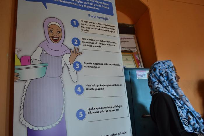 Poster detailing domestic workers' rights at the office of Zanzibar: Conservation, Hotels, Domestic and Allied Workers Union (CHODAWU-Z).  Stone Town, Zanzibar, Tanzania.