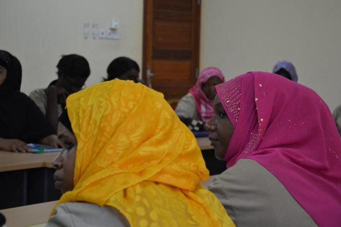 Domestic workers at a workshop in October 2016 in Zanzibar, discussing ways to organize and support rights of Tanzanian domestic workers in Gulf states.  Zanzibar, Tanzania.
