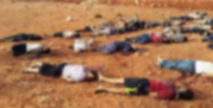 Bodies of 36 men who were extrajudicially executed lying on the ground in Al-Kassarat area of the eastern town of al-Abyar, Libya.