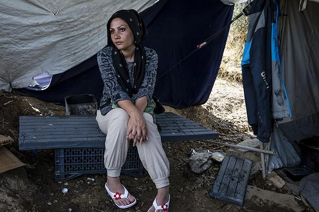 Zahra Mosawi, 28, from Afghanistan is trapped on Lesbos, Greece. Despite being a survivor of gender-based violence and in need of psychosocial support, she's been unable to find help in the camp.