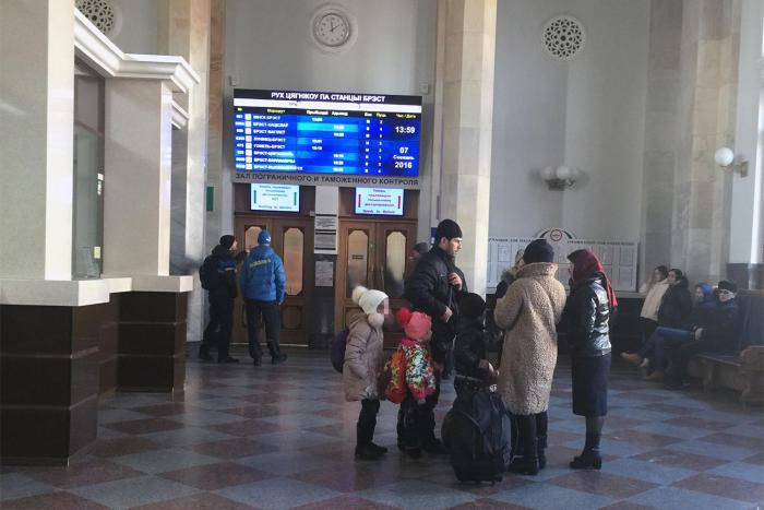 Asylum seekers in the arrivals hall at Brest train station, returned on the 13.46 pm train from Terespol, where their requests to seek asylum Poland were rejected. Brest, Belarus, December 7, 2016.