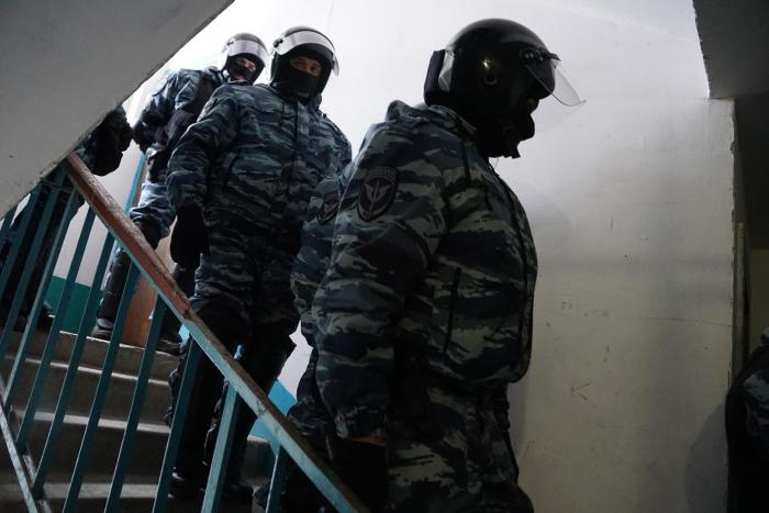 Law enforcement officials during the search in Emil Kurbedinov's office, Bakhchysarai, Crimea, January 26, 2017.