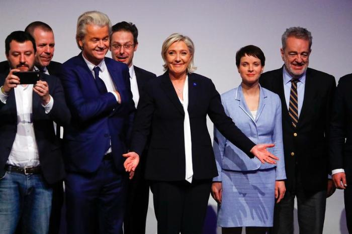 Germany's Alternative for Germany (AfD) leader Frauke Petry, France's National Front leader Marine Le Pen, Italian Matteo Salvini of the Northern League, Netherlands' Party for Freedom (PVV) leader Geert Wilders, Harald Vilimsky of Austria's Freedom Party
