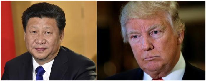 A combination of file photos showing Chinese President Xi Jinping (L) in London's Heathrow Airport, October 19, 2015 and (R) U.S. President Donald Trump listening to questions from reporters in New York, U.S., January 9, 2017.
