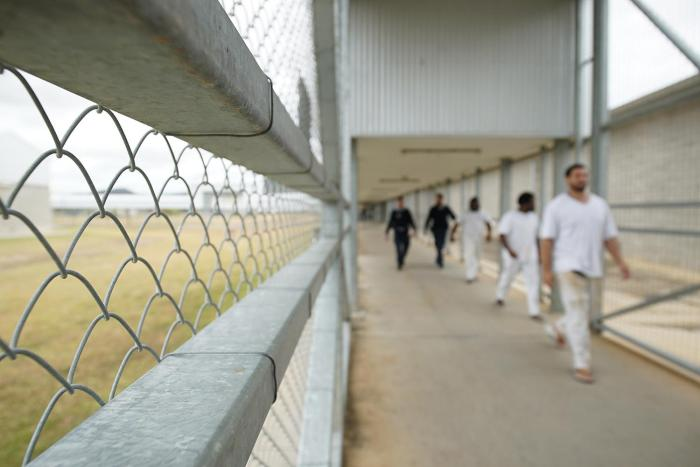 Staff escort prisoners, including Aboriginal and Torres Strait Islander prisoners, through Lotus Glen Correctional Centre.