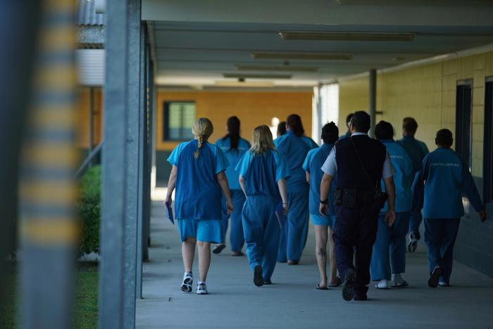 Female prisoners walking in the Brisbane Women's Correctional Centre, Queensland.