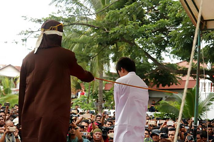 Two gay men were sentenced to 82 whips by the Shariah Court in Banda Aceh, Indonesia on May 23, 2017. In March 2018, four other people arrested in Aceh for same-sex conduct.