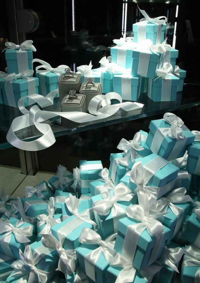 Gift boxes at a Tiffany and Co. event in January 2009 in New York, United States.