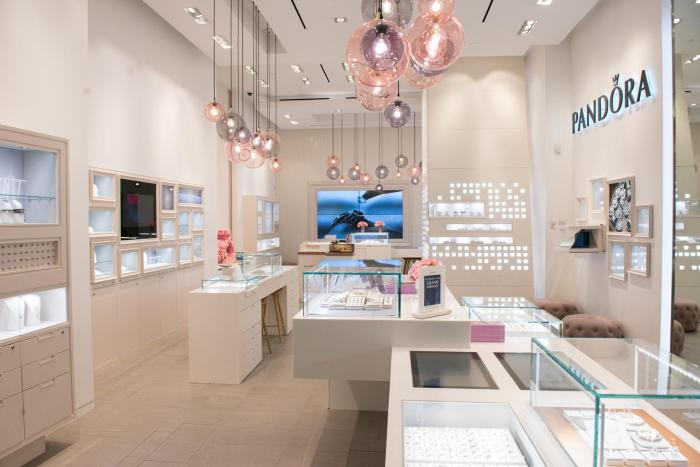 A Pandora jewelry store opening in August 2016 in New York, US.