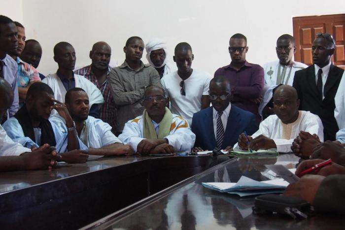 The 11 IRA activists who were freed from prison on November 18, 2016, at a press conference on November 30, 2016, in Nouakchott.