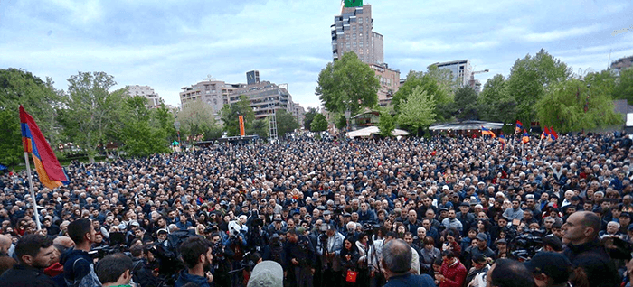 Protest against Armenia's ruling Republican party's nomination of former President Serzh Sarksyan as its candidate for prime minister, in Yerevan, Armenia April 13, 2018.