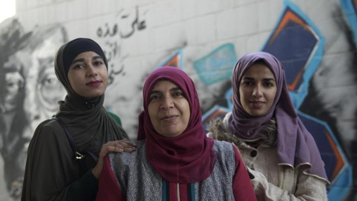 A Jordanian woman and her two non-citizen daughters on February 9, 2018 in Amman, Jordan.