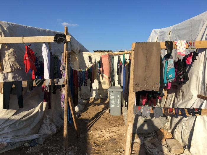 A clothesline in an informal tent settlement in Bar Elias, Bekaa Governorate, Lebanon. Refugees evicted from the Rayak air base area settled here in January 2018. The refugees say there was no procedure, no written notice, no opportunity to discuss or cha